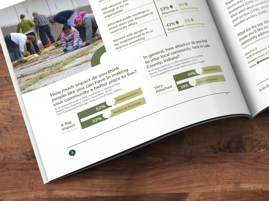 Close-up of infographic design for a non-profit foundation's annual report