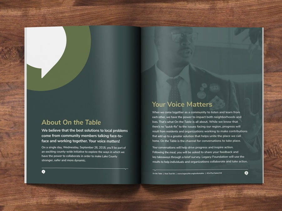 Inside spread of a booklet design for Legacy Foundation, a Northwest Indiana non-profit organization