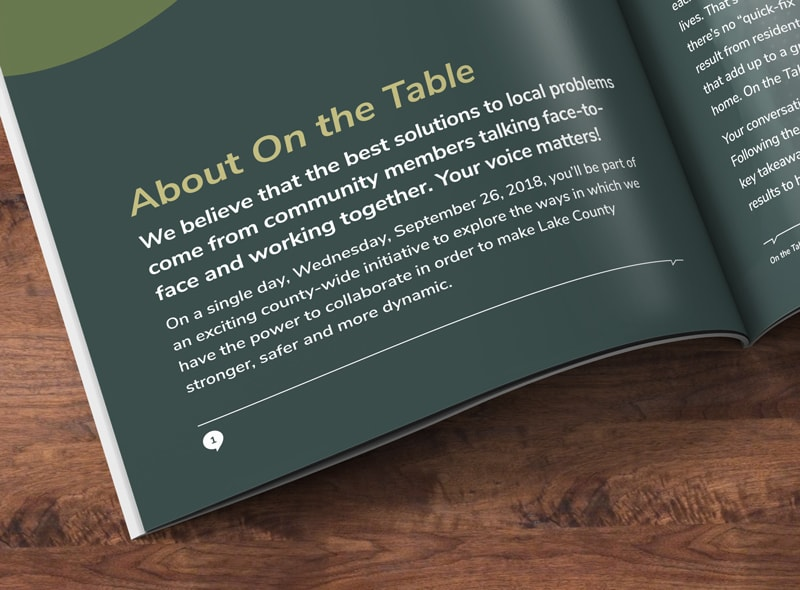 Close-up of booklet typography design for a non-profit organization