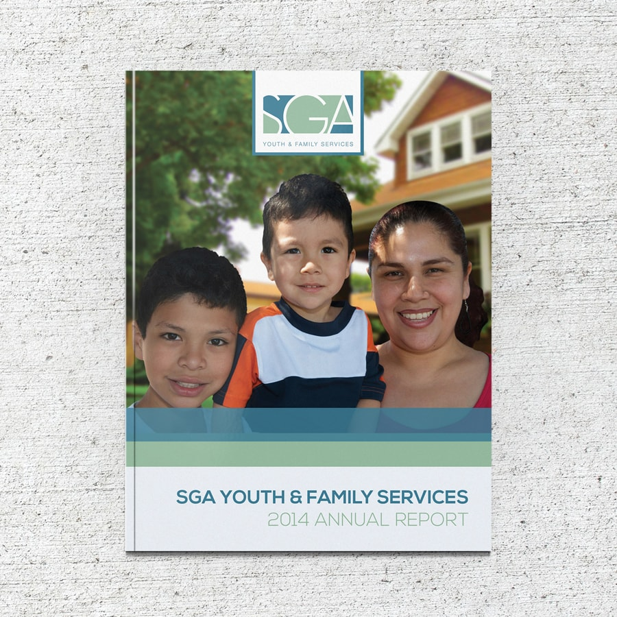 Annual report cover design for SGA Youth & Family Services