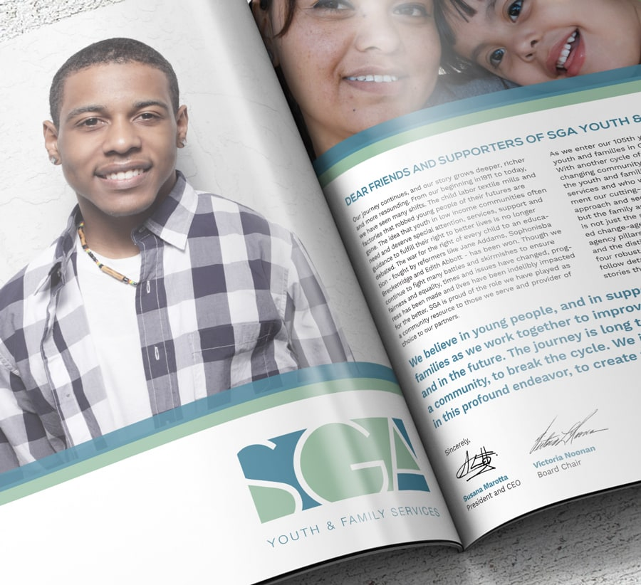 Close-up of typography layout for an SGA Youth & Family Services annual report