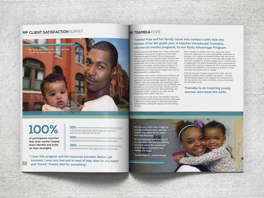 Layout of an annual report design for SGA Youth & Family Services
