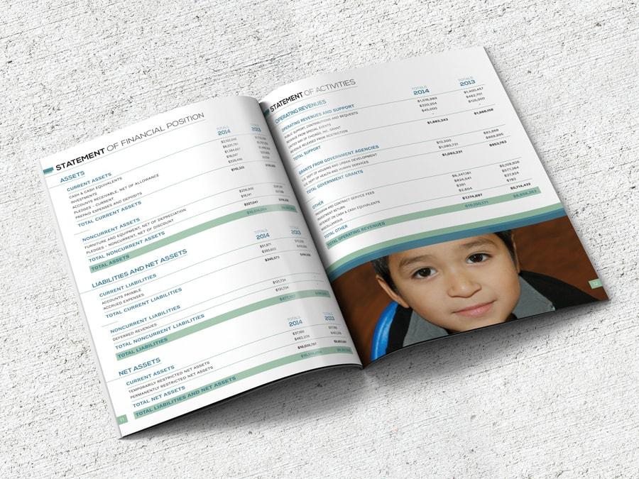 Annual report infographic design for a Chicago, Illinois community non-profit organization