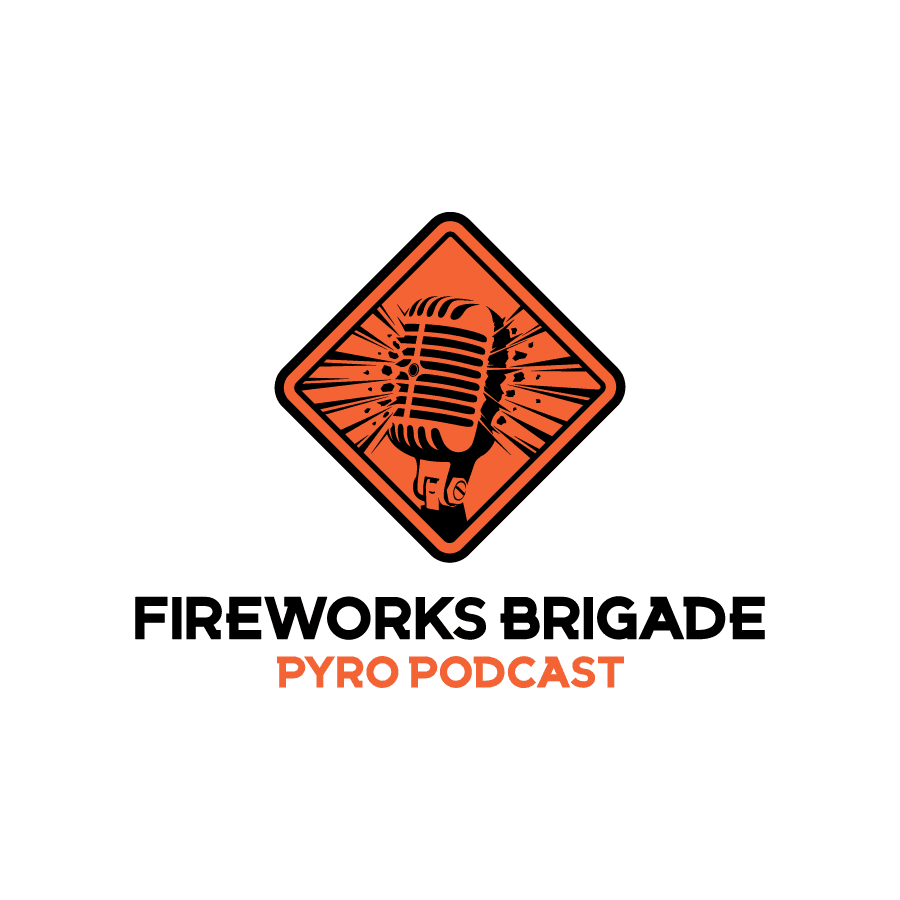 Illustrative logo design for Fireworks Brigade Pyro Podcast
