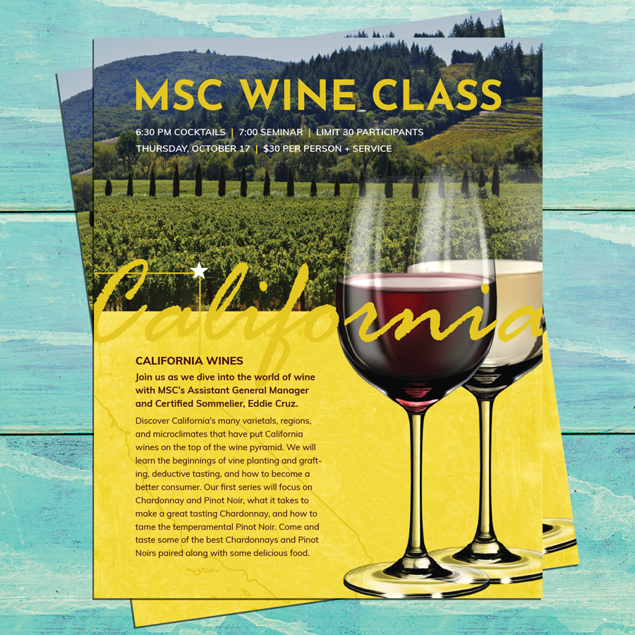 Advertisement Design for California Wines tasting event