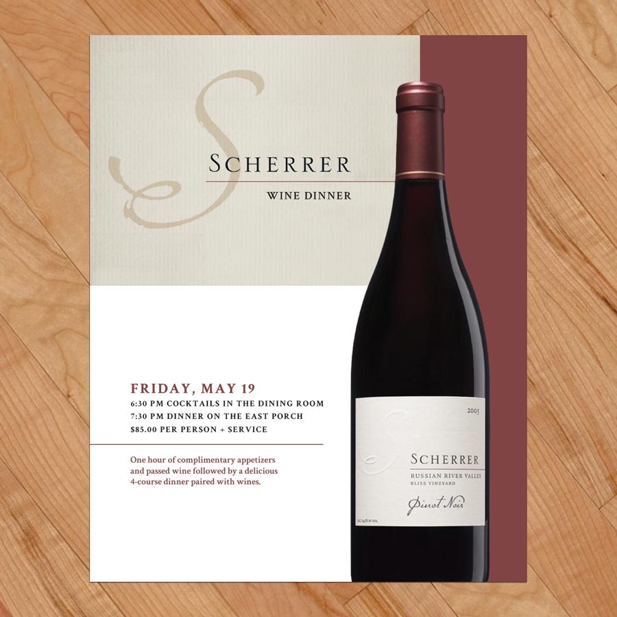 Wine advertisement design for Scherrer Wine