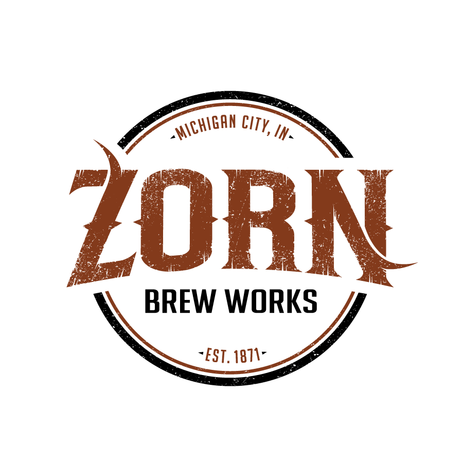 Brewery badge logo design for Zorn Brew Works in Michigan City, Indiana