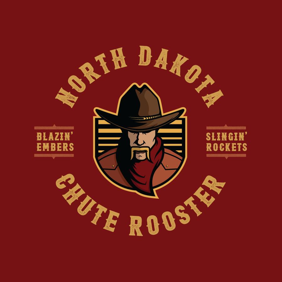 Illustrative cowboy logo design for Starr Fireworks' chute rooster package