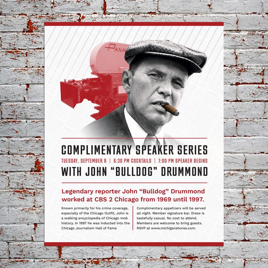 "John ""Bulldog"" Drummond Advertisement Design for an event at Michigan Shores Club"