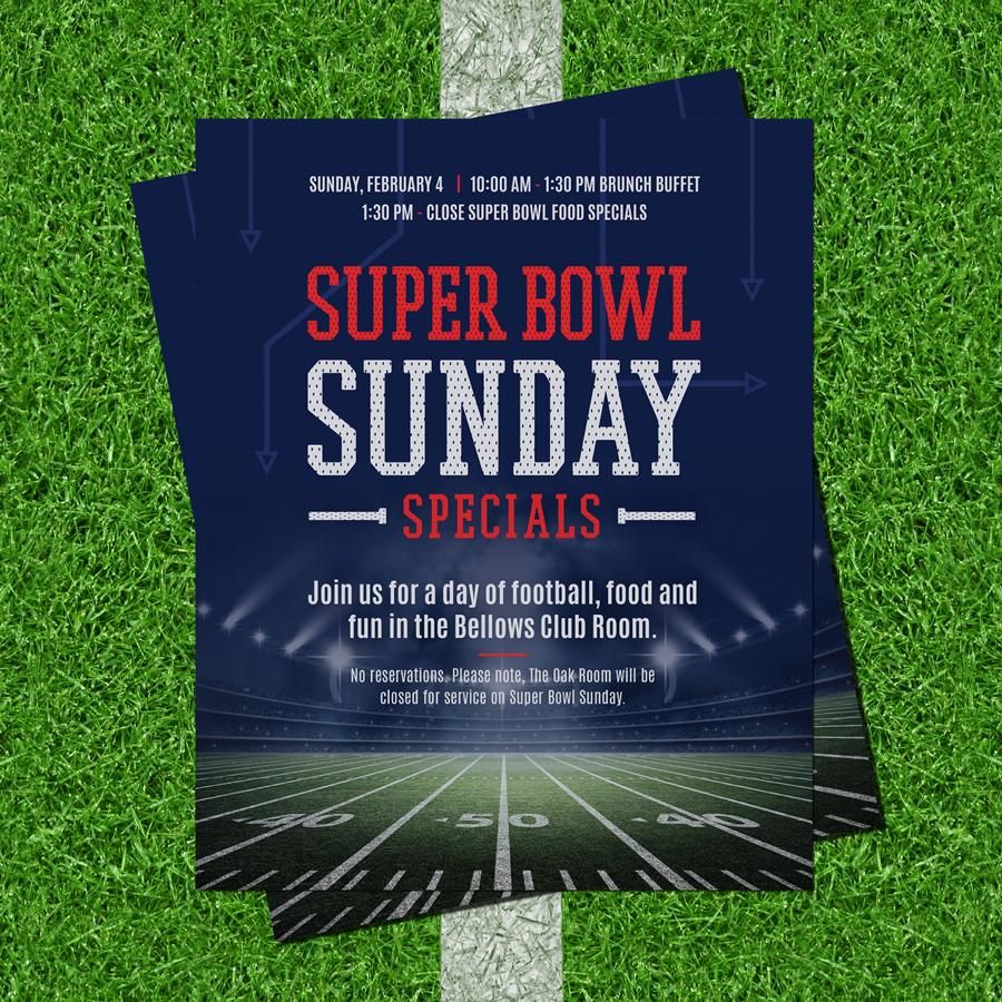 Super Bowl Advertisement Design for an event at Michigan Shores Club