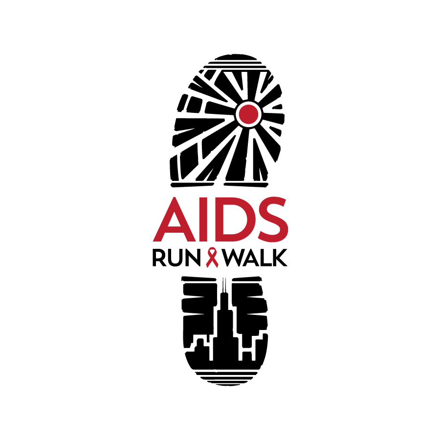 Illustrative logo design for AIDS Run & Walk in Chicago