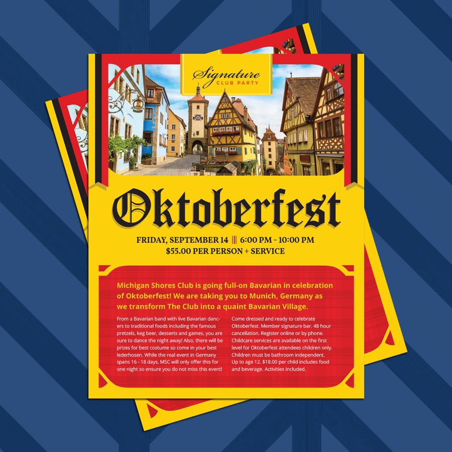 Oktoberfest Advertisement Design for an event at Michigan Shores Club