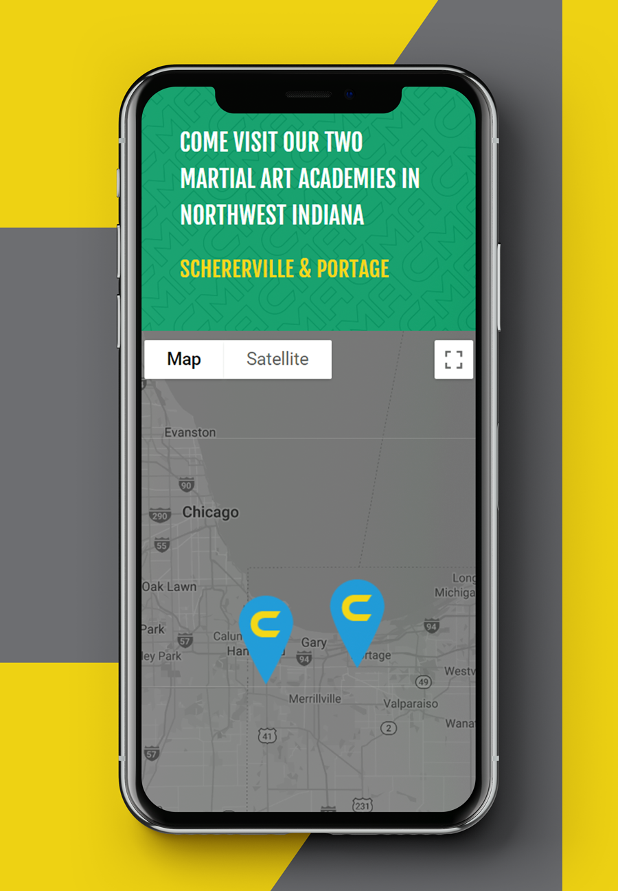 Mobile view of web design for a martial arts academy
