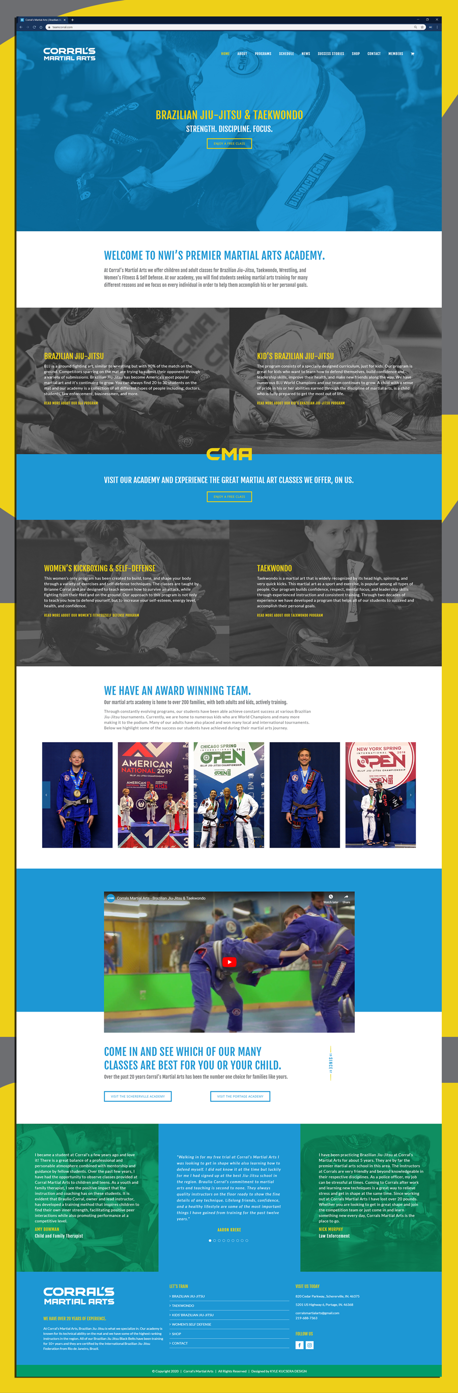 Website design for Corral's Martial Arts in Northwest Indiana