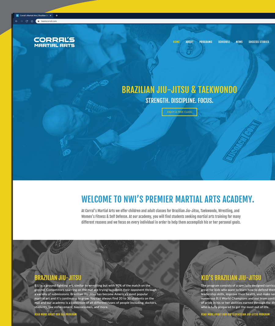Close-up of website layout design for Corral's Martial Arts in Northwest Indiana
