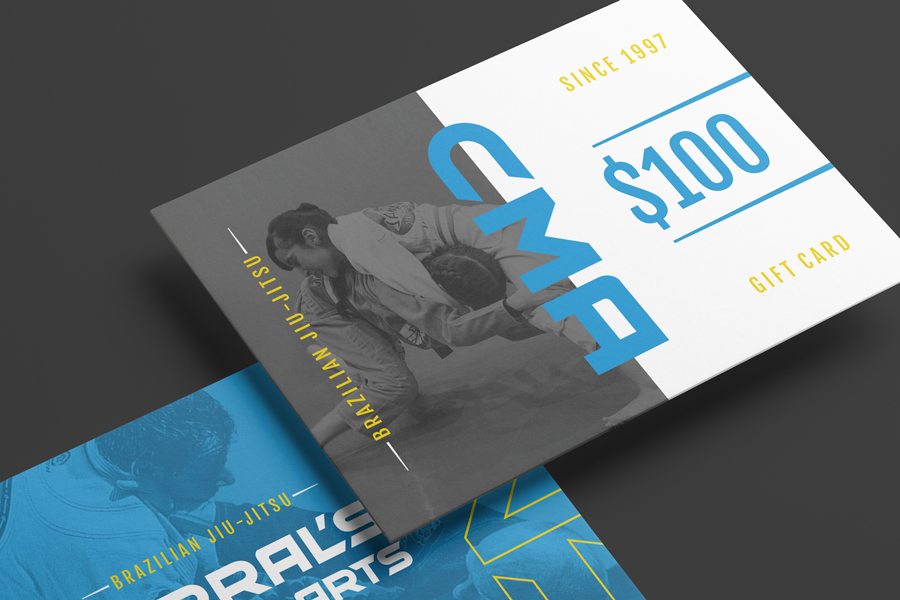 Close-up of gift card design for a Northwest Indiana martial arts gym