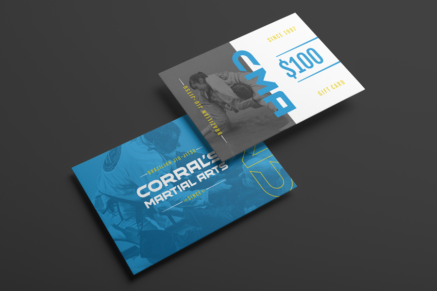 Gift card design for a Northwest Indiana martial arts gym