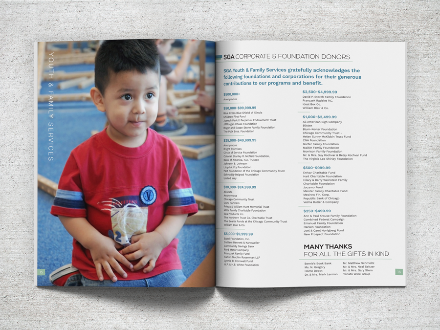 Layout design for a Cook County community non-profit organization's annual report