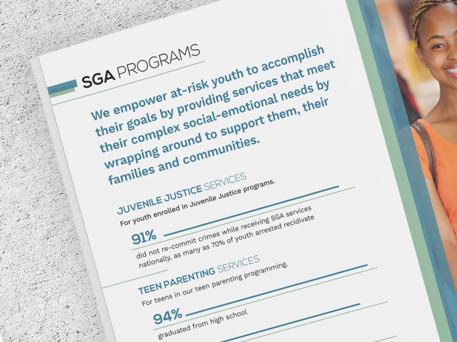 Close view of typography design for an SGA Youth & Family services annual report