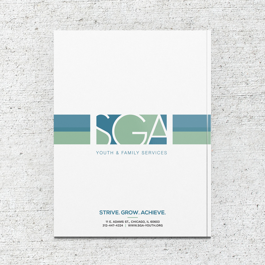 Annual report back cover design for SGA Youth & Family Services