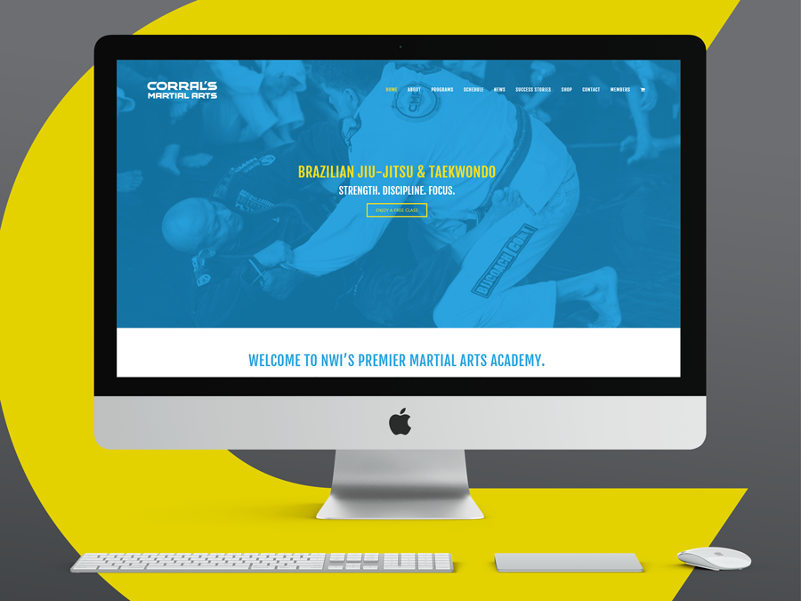 Homepage website design for a martial arts gym in Northwest Indiana