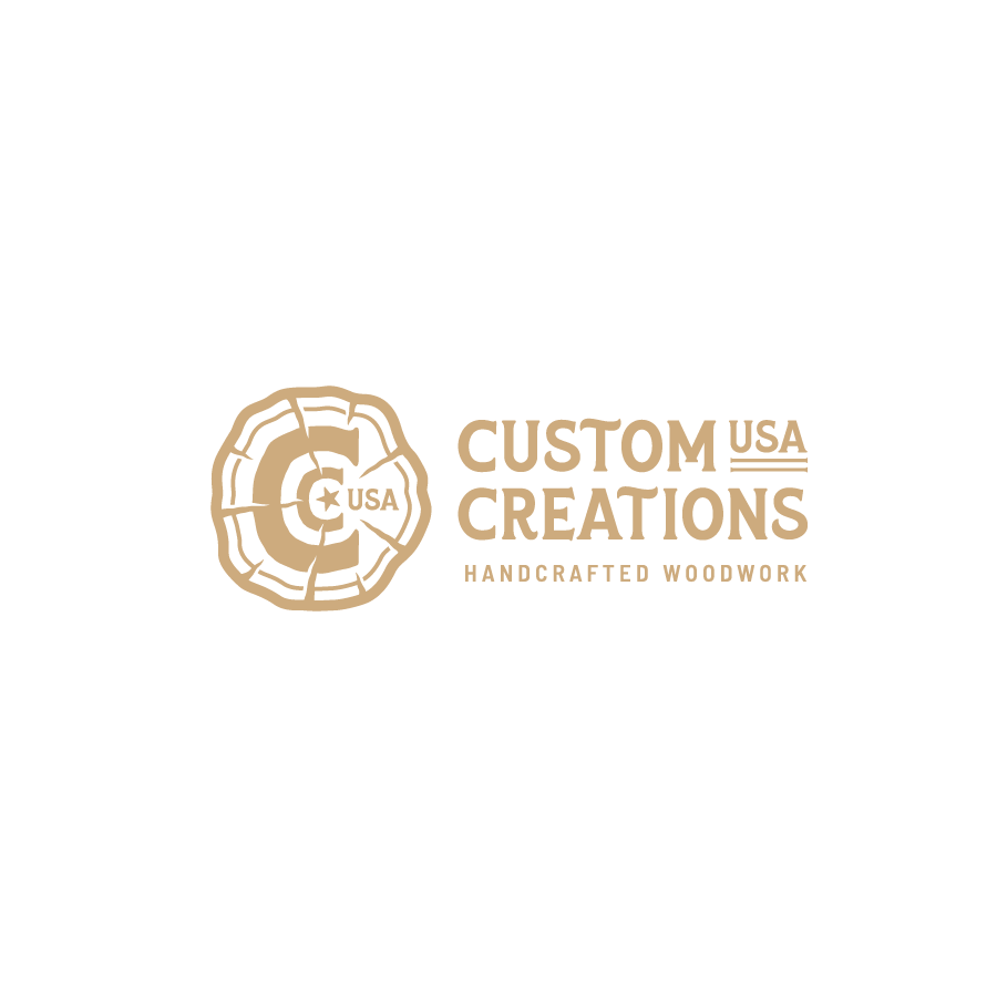 One color logo design for Custom Creations Handcrafted Woodworking