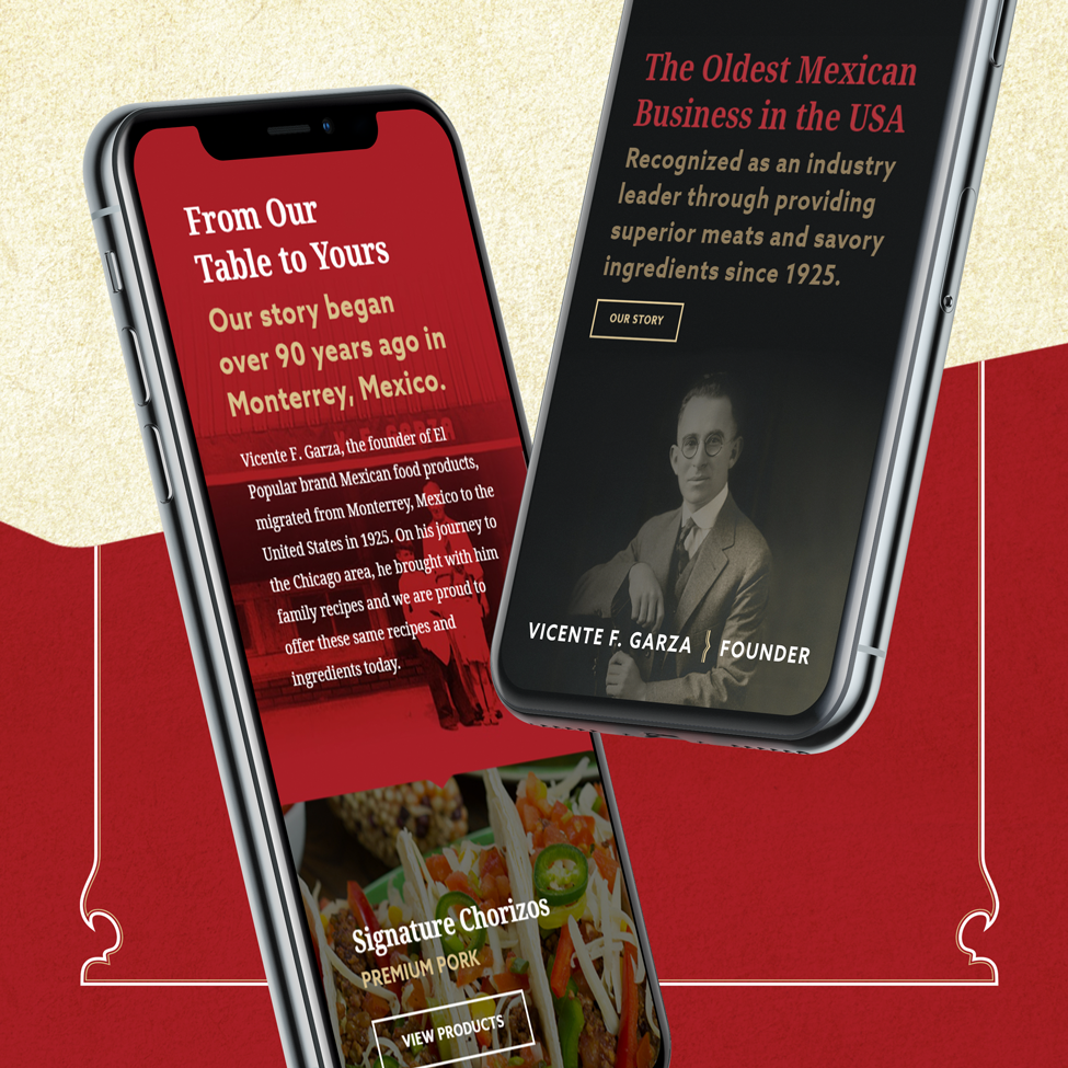 Mobile layout of website design for a Northwest Indiana chorizo manufacturer