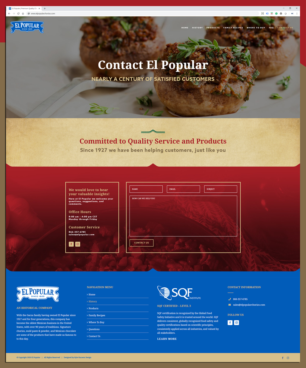 Website layout design for El Popular's contact us page