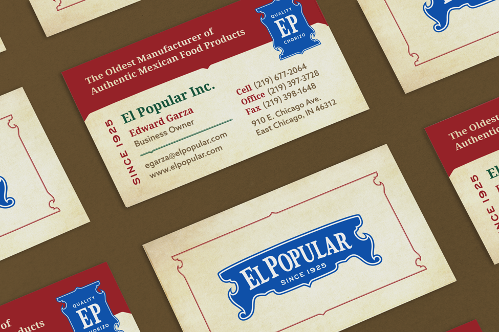 Close-up view of business card design for chorizo manufacturer, El Popular
