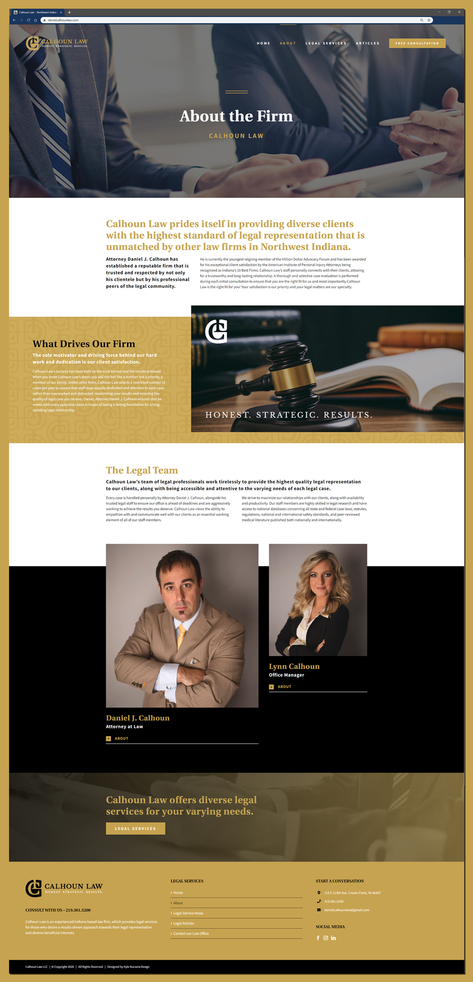 About us page website design for the legal offices of Calhoun Law located in Crown Point, Indiana
