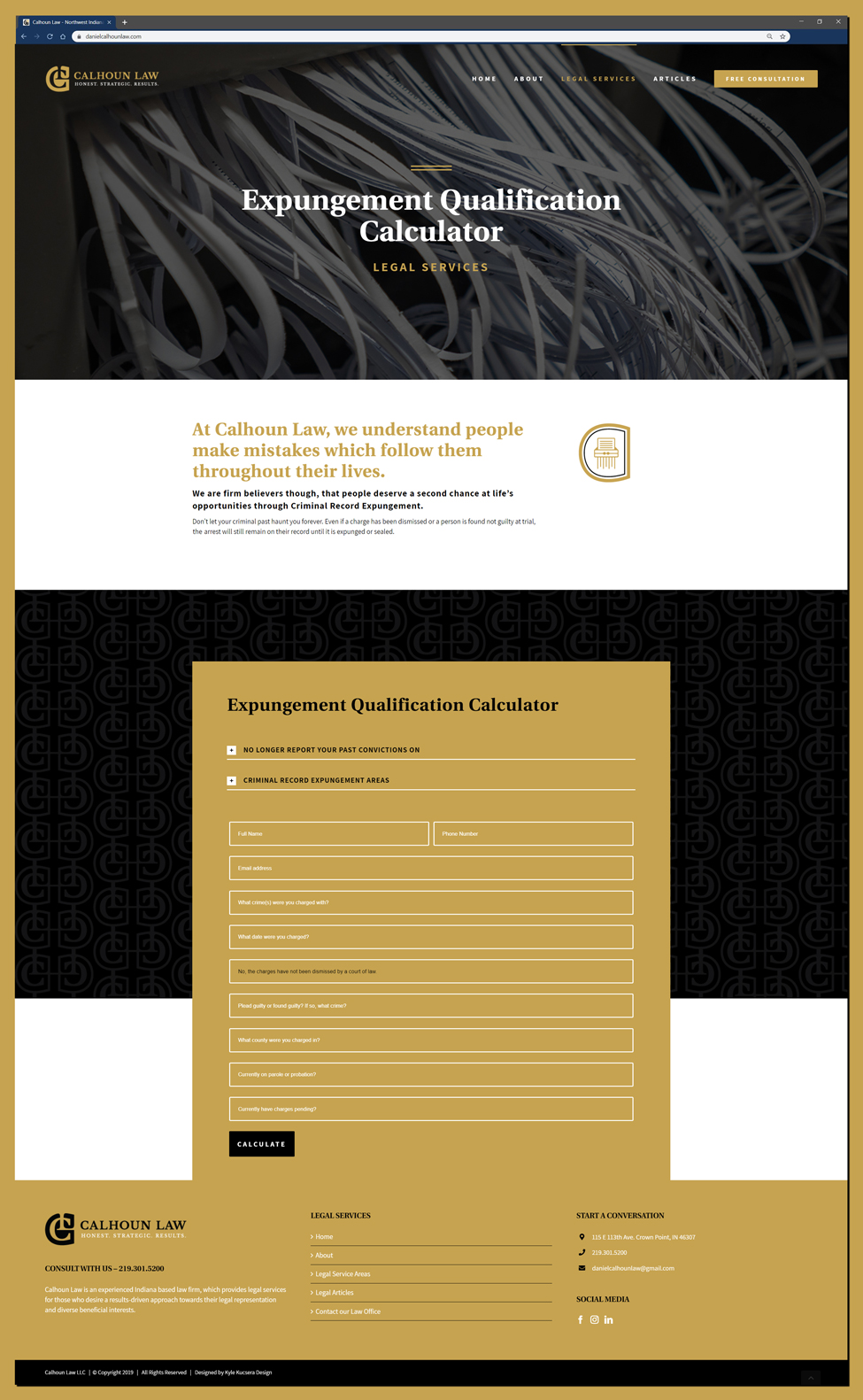 Web design for an Expungement Calculator on a law office website