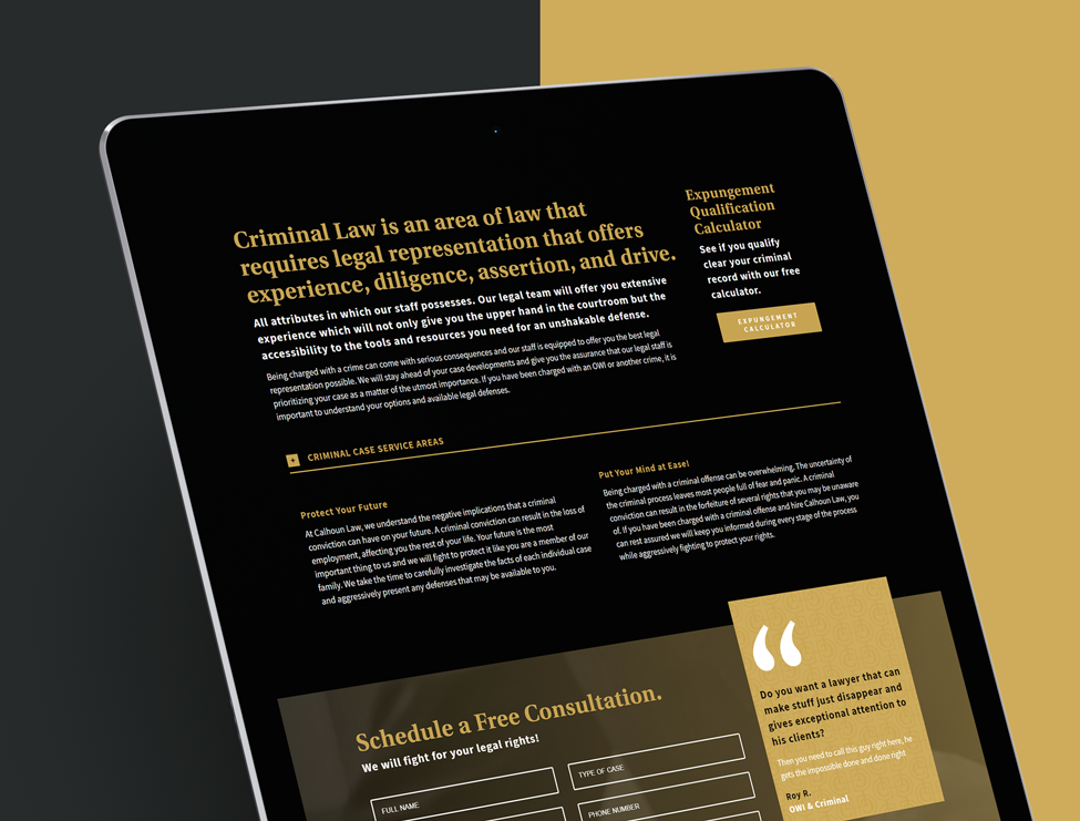 Tablet view of a website design for the legal offices of a Northwest Indiana Lawyer