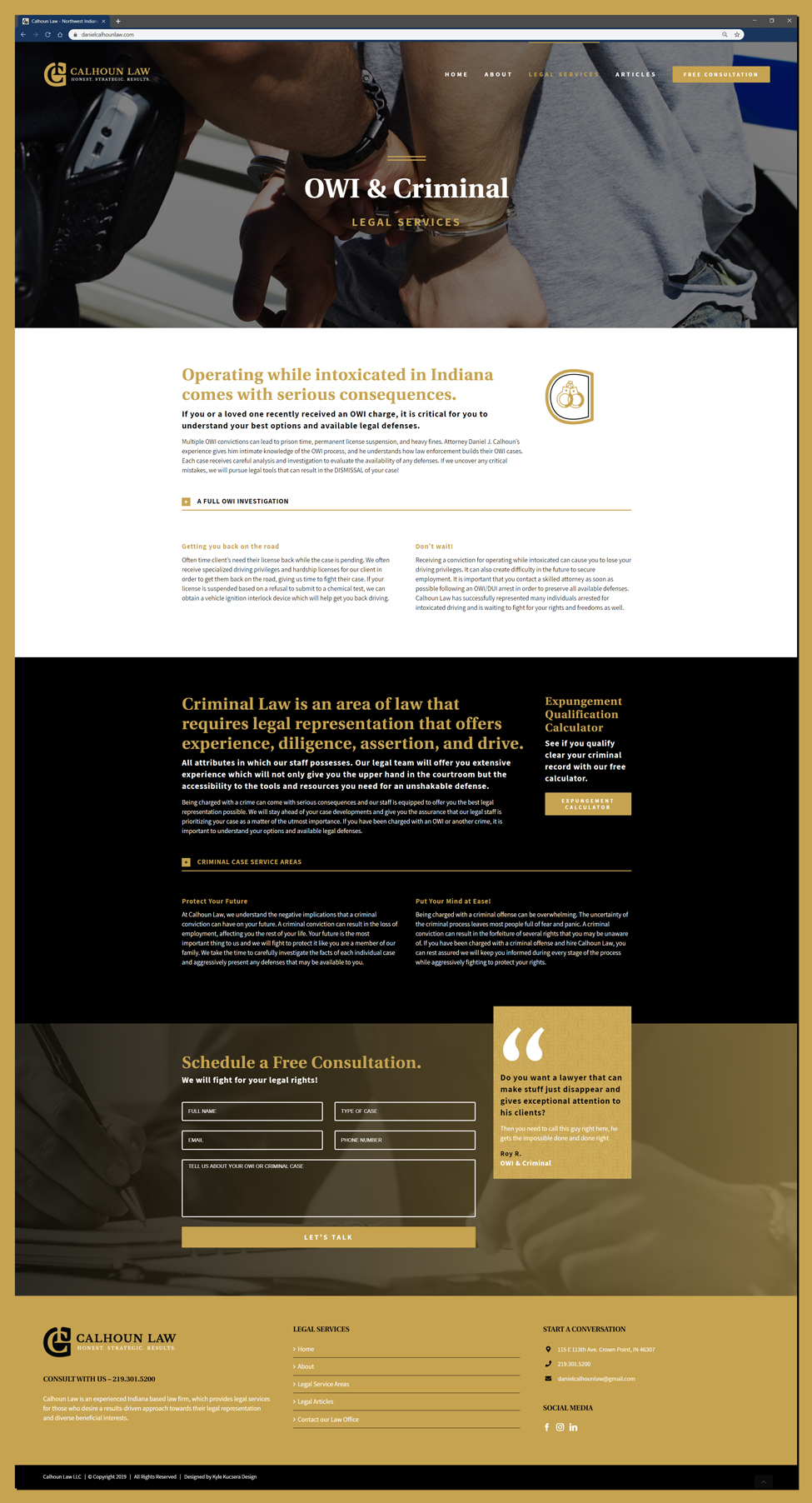 Legal Services page web design for a Northwest Indiana Law Firm