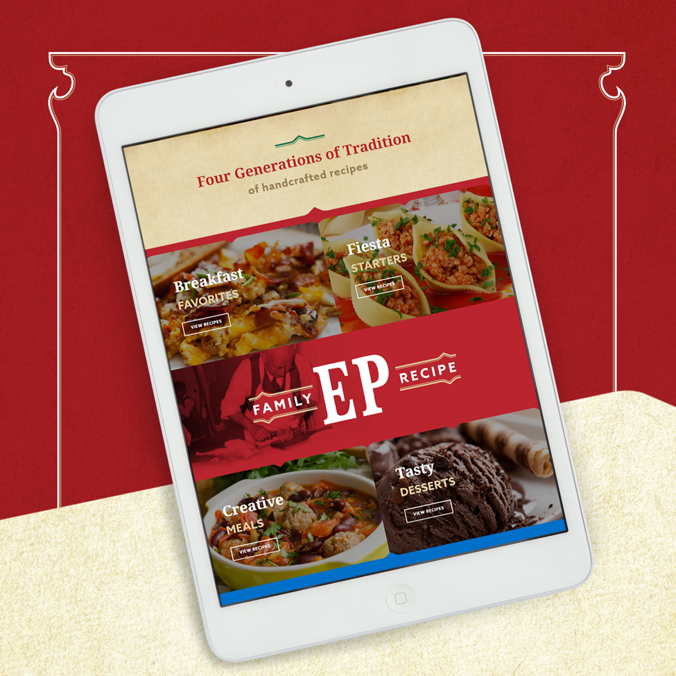 Tablet view of web design for El Popular's family recipe page