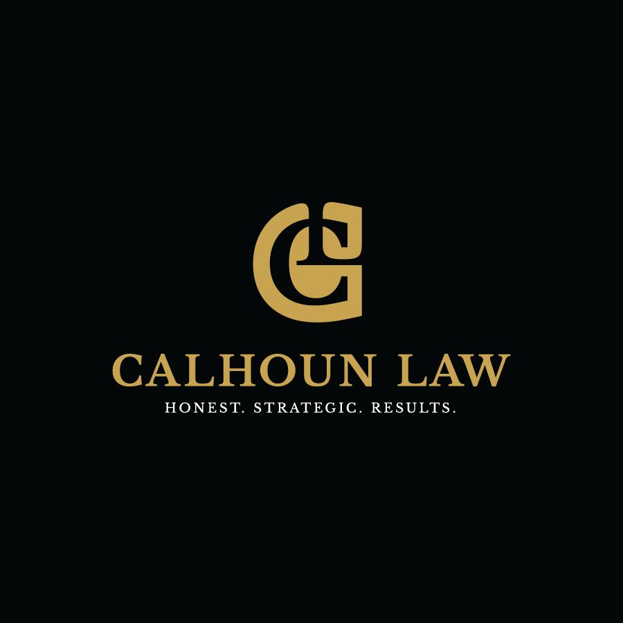 Gold lawyer monogram logo design for Calhoun Law