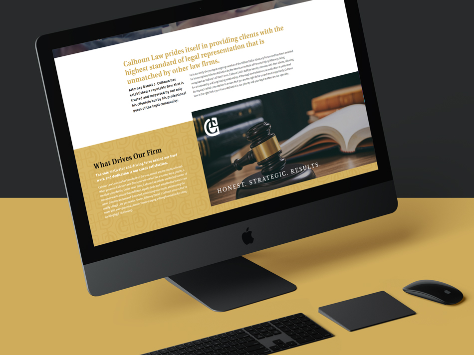 About us web design page for a Northwest Indiana Lawyer