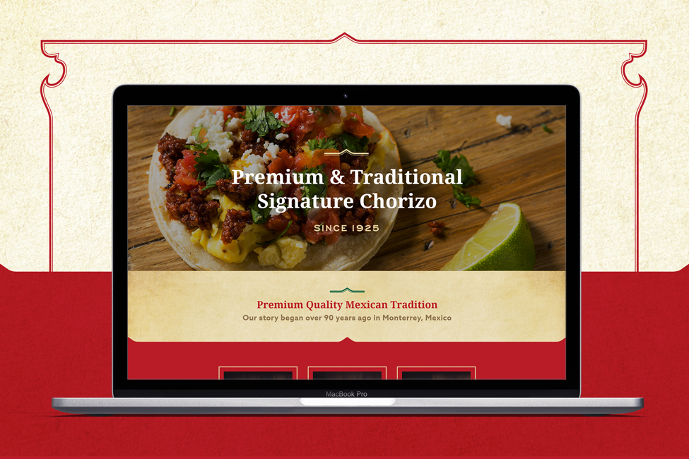 Laptop view of website design for a chorizo manufacturer in Northwest Indiana