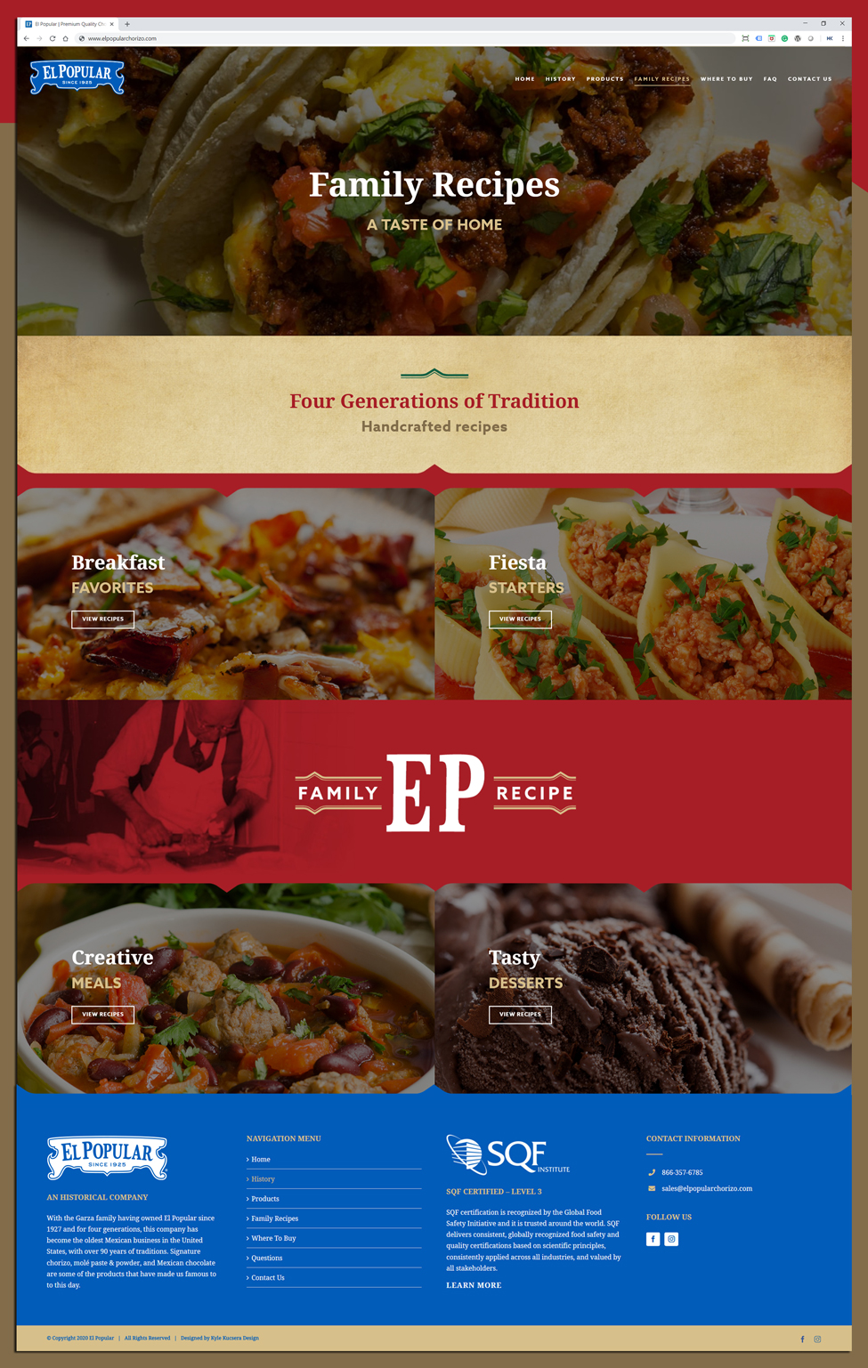 Website layout design for El Popular's family recipe page