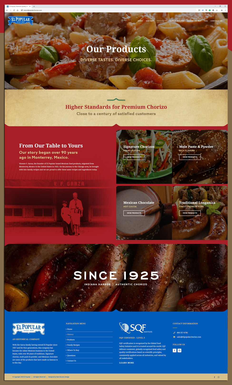 A mexican food company's website product page layout design