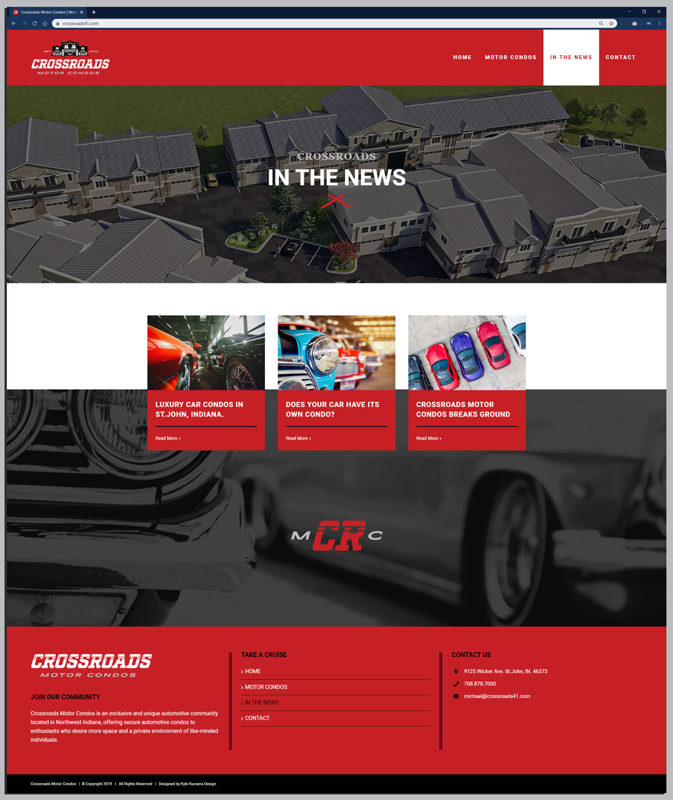 Responsive website design for an indoor car storage facility's Blog Page