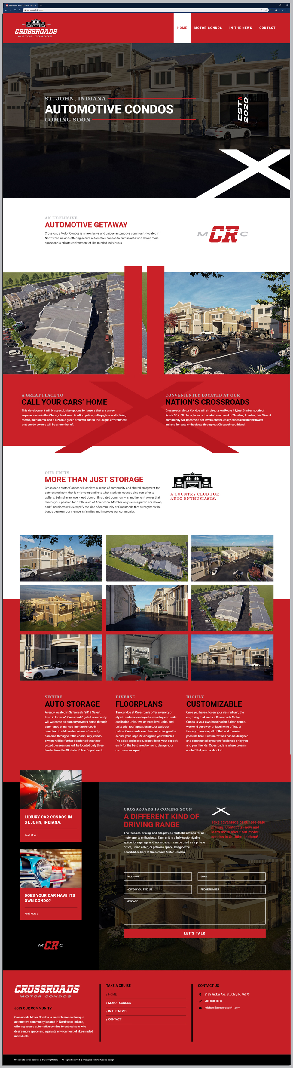 Web Design layout for Crossroads Motor Condos in St. John, Indiana