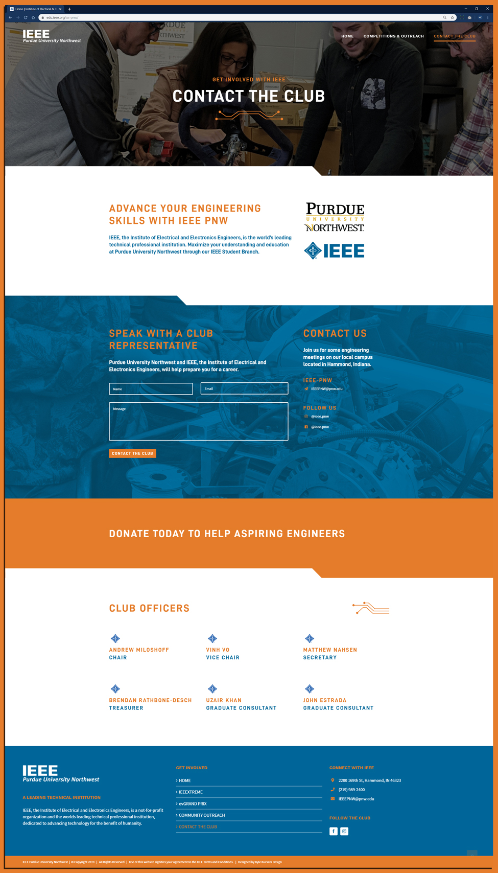 Contact Us page website design for IEEE at Purdue University Northwest