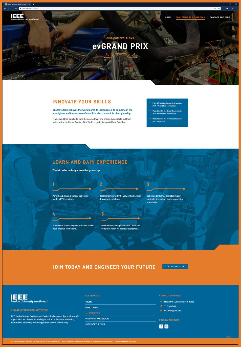Layout of EV Grand Prix website design for Purdue University Northwest