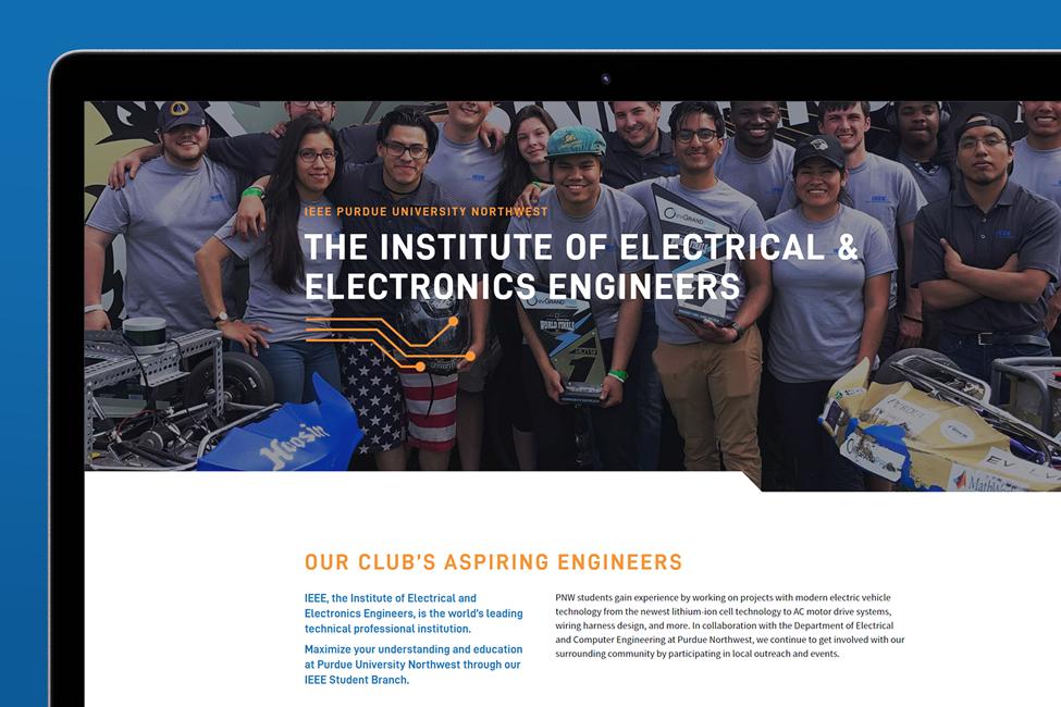 Close up of website design for IEEE at Purdue University Northwest