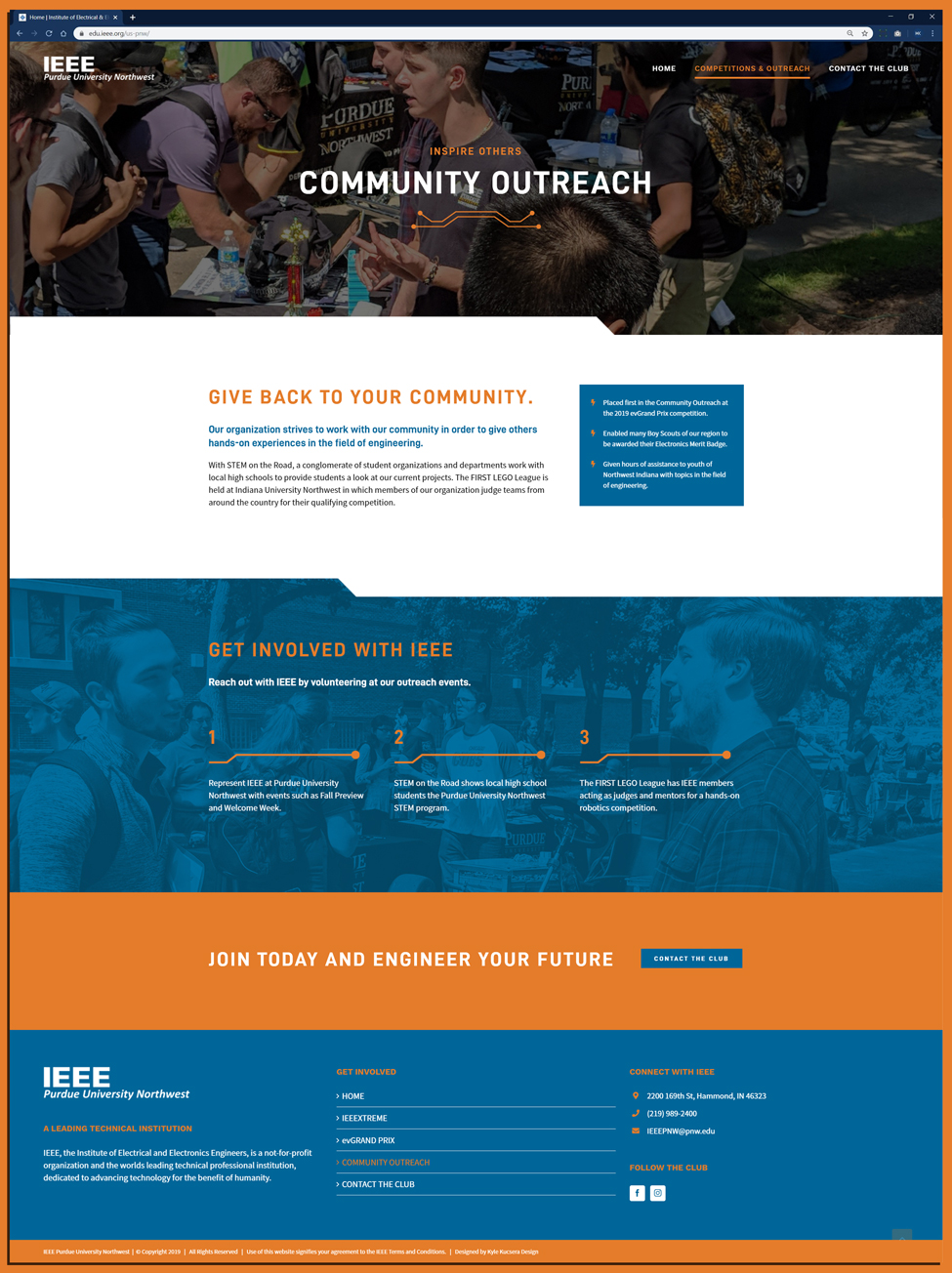 Layout of Community Outreach website design for Purdue University Northwest