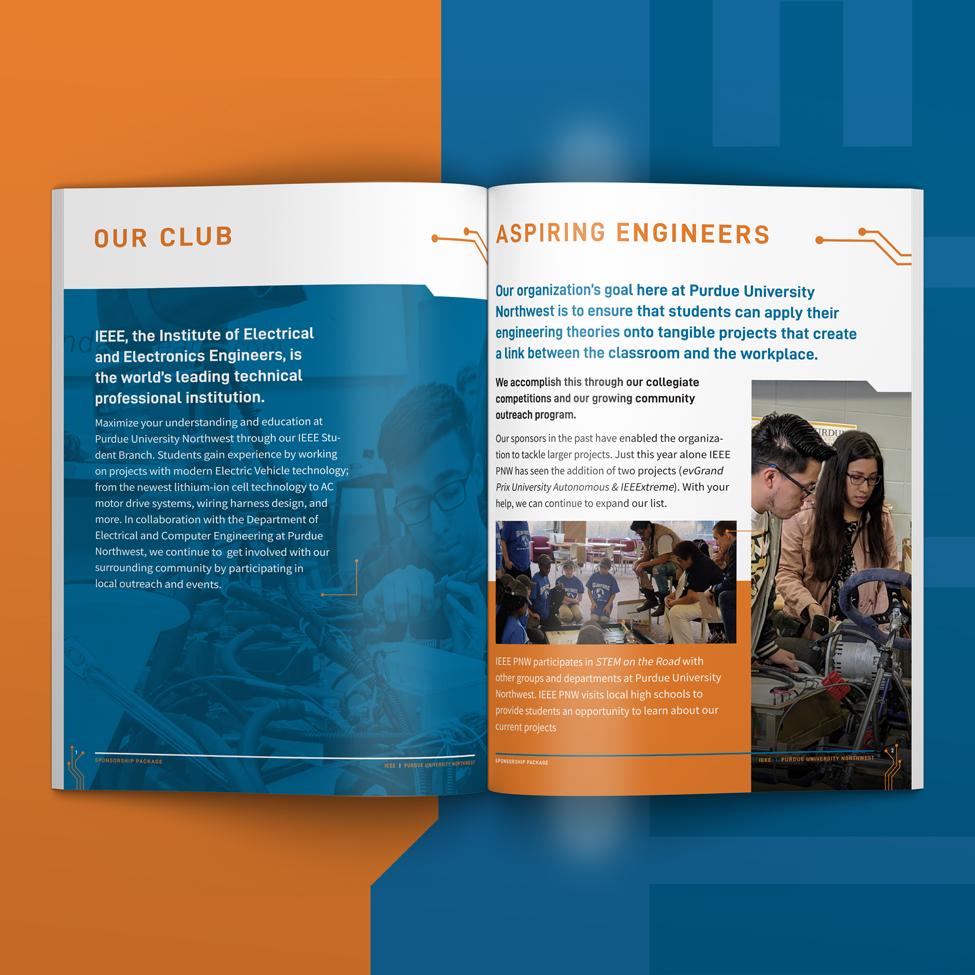 Engineering Sponsorship Packet inside spread design for IEEE at Purdue University Northwest