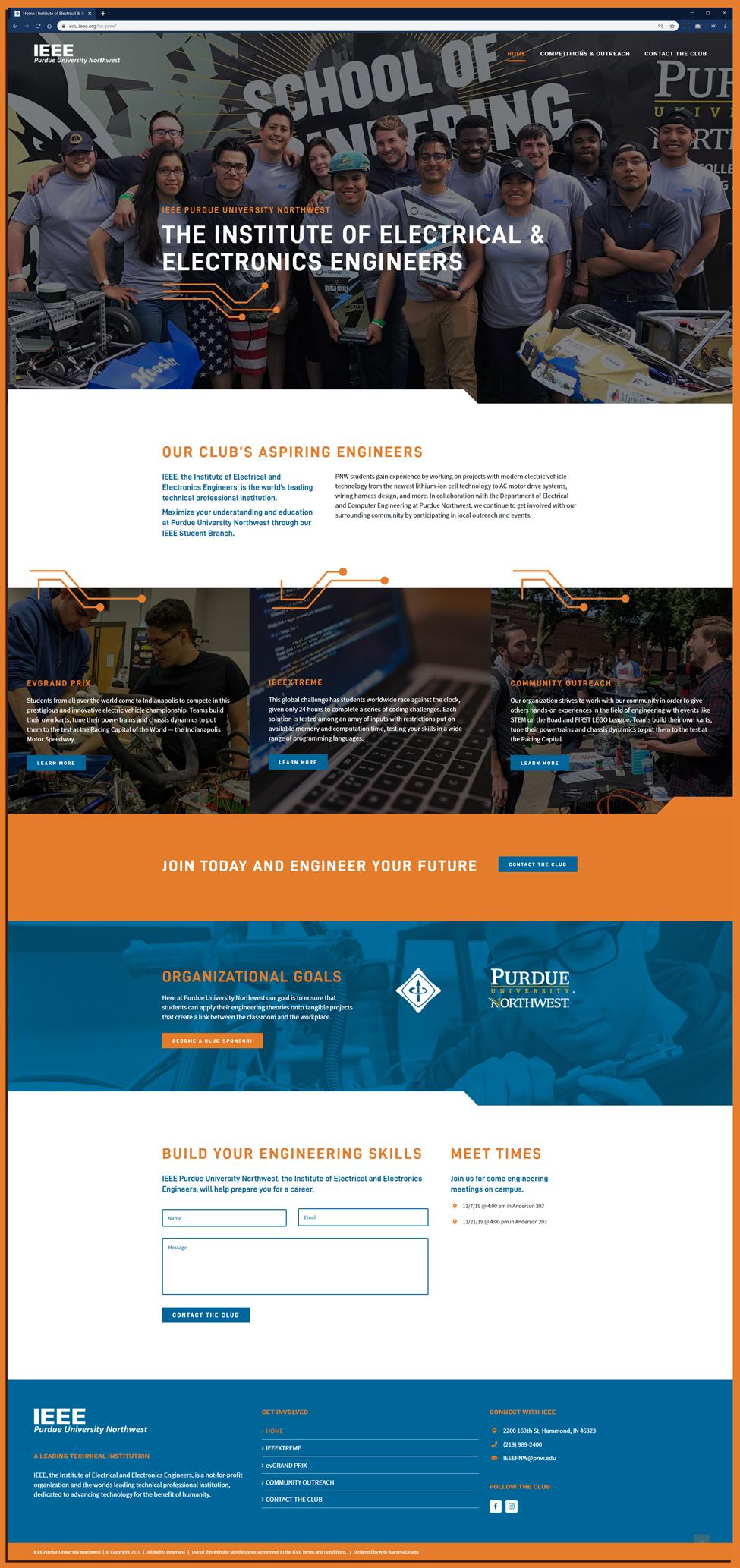 Homepage Layout of website design for IEEE at Purdue University Northwest