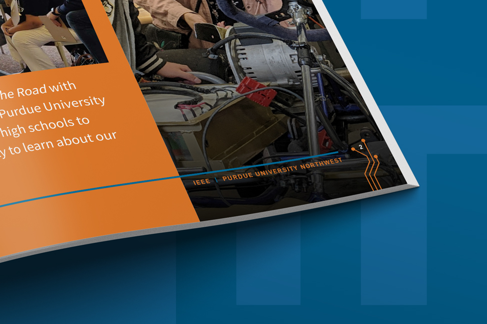 Close up of Engineering Sponsorship Packet design for IEEE at Purdue University Northwest
