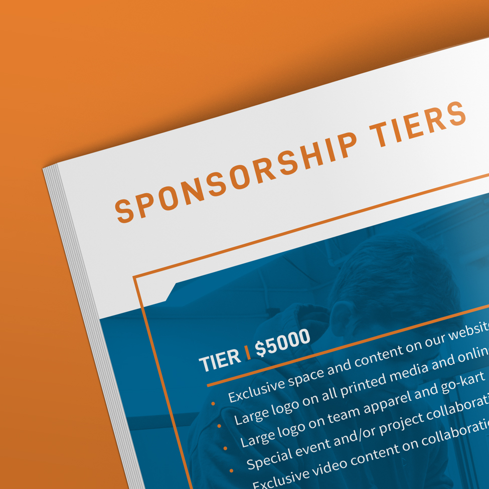 Close up of layout design for IEEE sponsorship packet