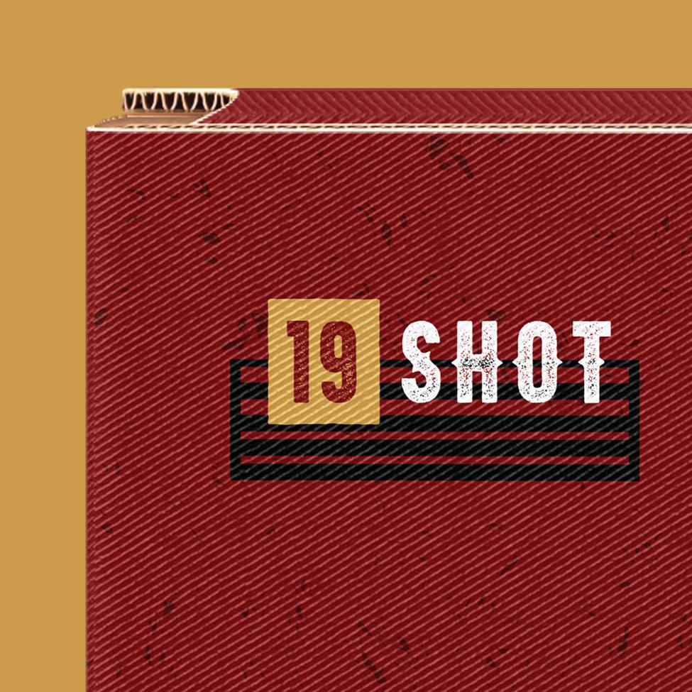 Close-up of a 19 shot firework package design